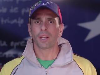 A capture from Capriles' video message.