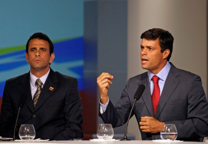 Former presidential candidate and Miranda state governor Henrique Capriles (left) and leader of the right-wing Popular Will party Leopoldo Lopez (AP)