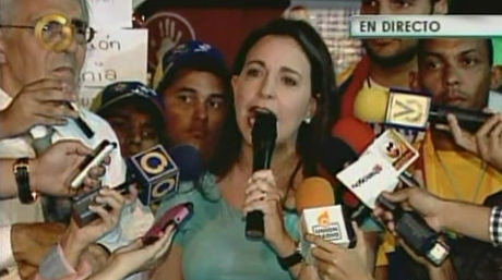 Right-wing opposition legislator Maria Corina Machado speaking live on private channel Globovision to a range of media outlets last year (Globovisión)