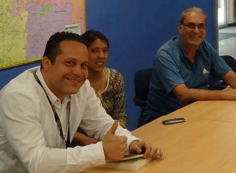 CATURVEN cooperative members, from left: Jhonny Volcan, Lisset Reyes and Franklein Rodriguez. (PHOTO: Tsutomu Yoshihara)