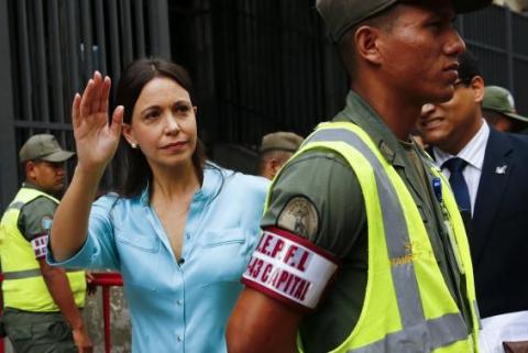 Venezuela's opposition leader Maria Corina Machado arrives at the state prosecutor office in Caracas December 3, 2014.  (Reuters/Jorge Silva)