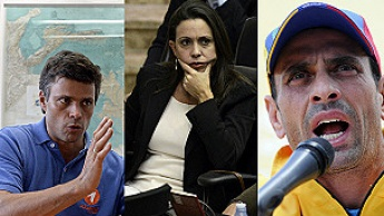 From left to right: opposition leaders Leopoldo Lopez, Maria Corina Machado, and Henrique Capriles (AFP)