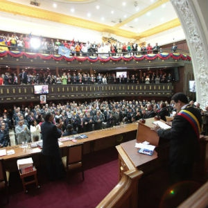 President Nicolas Maduro addressing to the Venezuelan legislature, he announced slight changes to monetary policies and the need to raise the extremely low cost of gasoline in the country. (PHOTO: Prensa Presidencial)