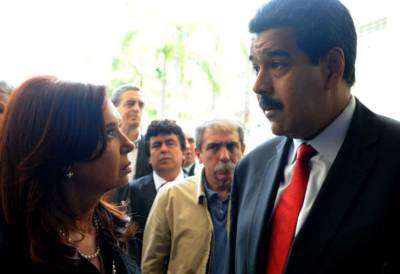 President Nicolas Maduro meets with Argentine President Cristina Fernandez de Kirchner (Credit: Aporrea).