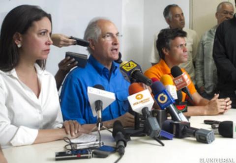 "The signatories of the call for ""National Transition Agreement"" include Maria Corina Machado, Leopoldo Lopez and Antonio Ledezma (El Universal)"