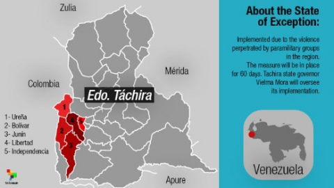 The state of exception, which went into effect on Saturday morning, affects five municipalities in Tachira state. (TeleSUR English)
