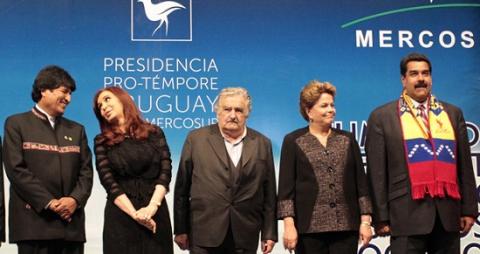 The leaders of Bolivia, Argentina, Uruguay, Brazil, Venezuela, from left to right. (Photo: resumenlatinoamericano.org)