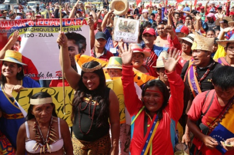 Indigenous nations participated in Wednesday's mobilization in Caracas (@PresidencialVen).