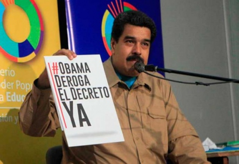 President Nicolas Maduro leading the campaign to repeal the executive order last year. (Archive)