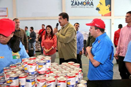 President Nicolas Maduro inaugurating a new CLAP packaging facility in Sucre state. (AVN)