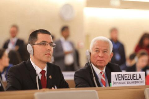 Venezuelan Foreign Minister Jorge Arreaza addresses the UNHRC. (Cancillería de Venezuela)
