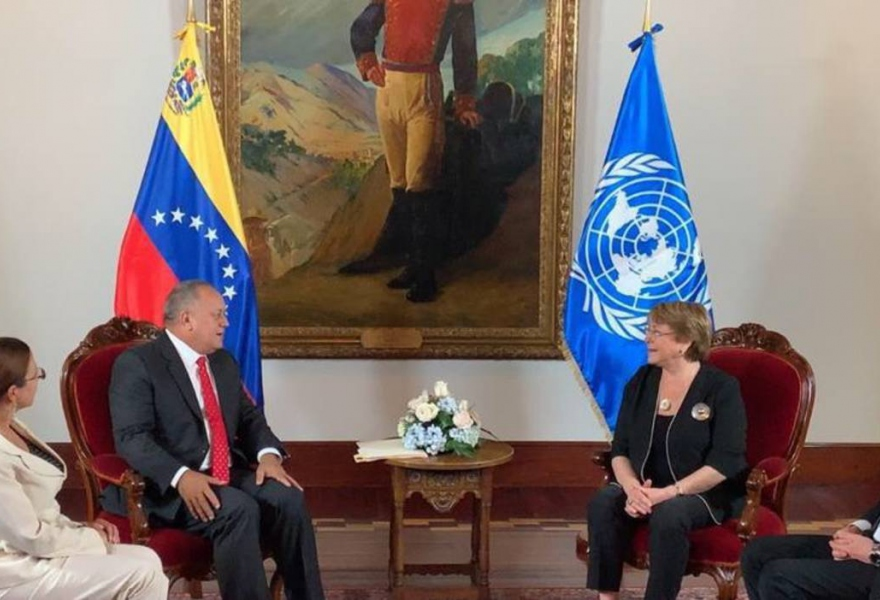 During her visit, Bachelet also met with the President of the National Constituent Assembly Diosdado Cabello. (Victor Amaya)