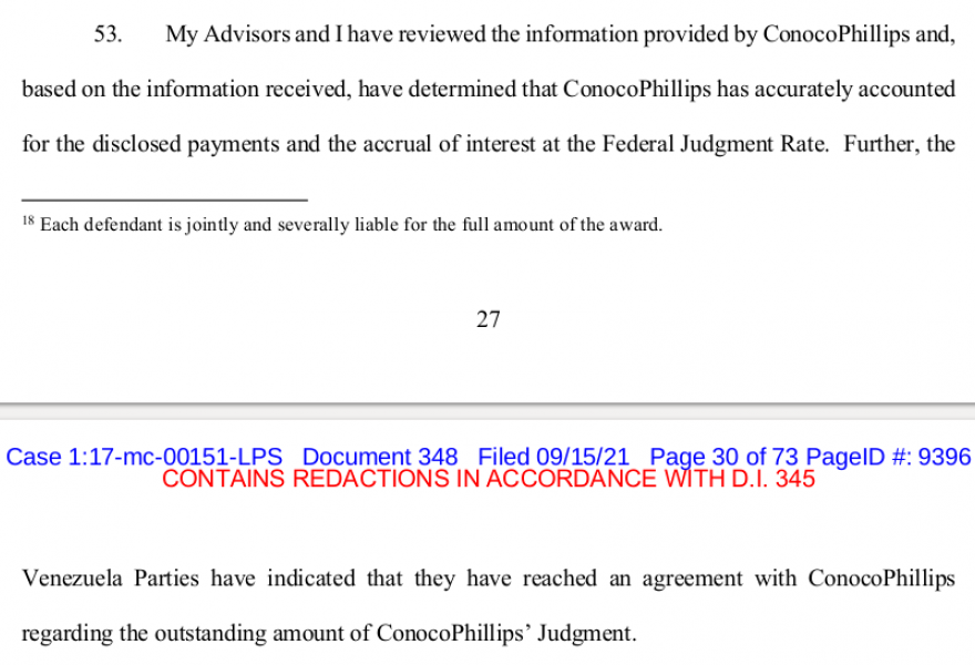 A Delaware district court report stated that the Guaidó-led opposition struck a $1.3 billion deal with oil giant ConocoPhillips. (Case 1:17-mc-00151-LPS, Document 348 / screenshot)