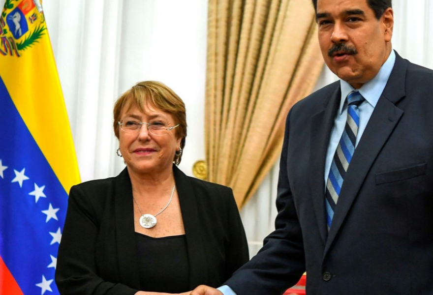President Nicolas Maduro meets the UN high commissioner for human rights in the Miraflores Presidential Palace in Caracas. (Yuri Cortez/AFP)