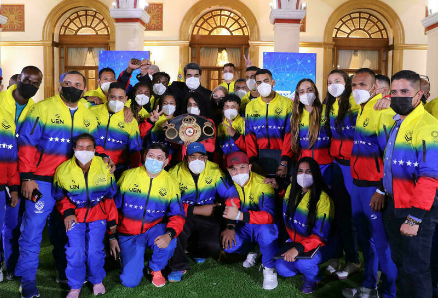 The Venezuelan Olympic team visits the presidential palace before departing to Japan. (Miraflores Press)