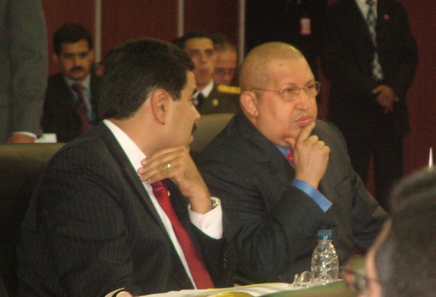 Venezuelan foreign minister Nicolas Maduro (left) with President Hugo Chavez, at the plenary session of the summit on Friday  (Tamara Pearson / Venezuelanalysis.com)