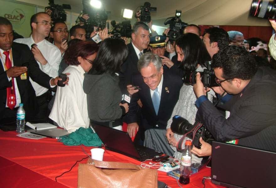 Sebastian Pinera, president of Chile and now presidente pro-tempore of the CELAC, visited the press tent on Saturday  (Tamara Pearson / Venezuelanalysis.com)