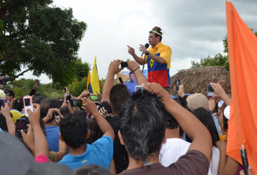 Opposition candidate Henrique Capriles during his campaign launch in south-eastern Venezuela (Ana Vanessa Herrero/ Noticias24)