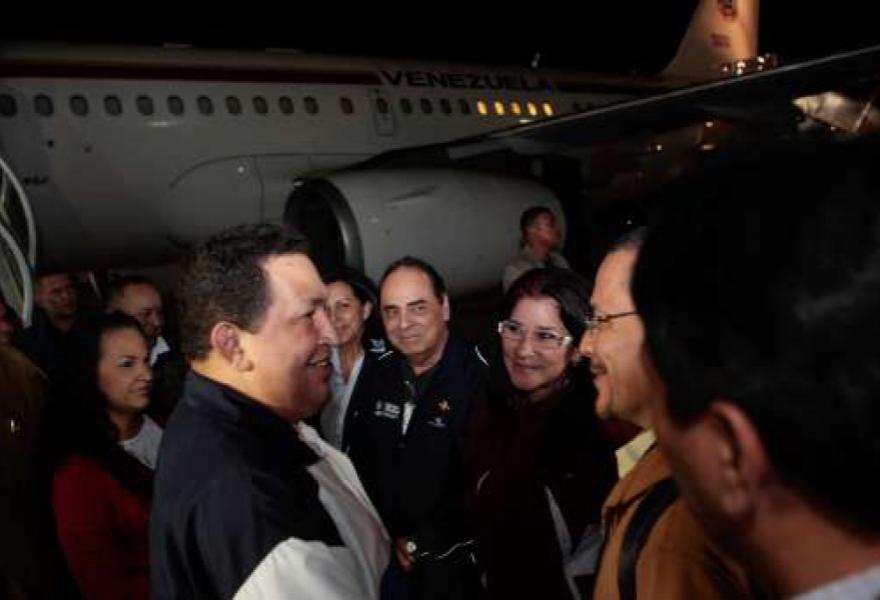 Venezuelan president Hugo Chavez returned to Venezuela from Cuba early this morning (AVN)