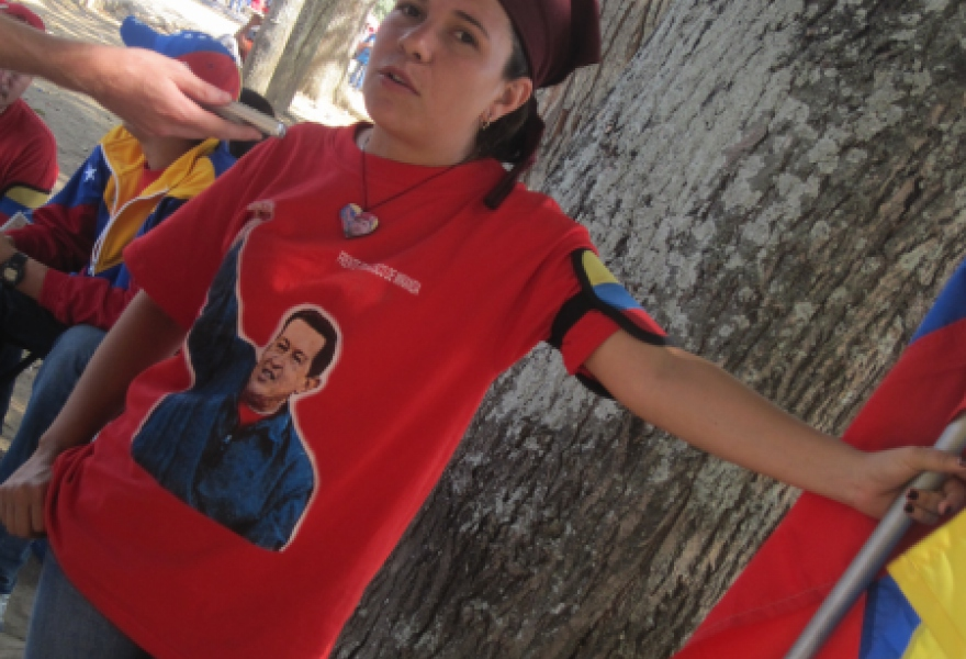 "Maria de Carmen from the Francisco de Miranda Front, who said she felt proud to attend ""to accompany Chavez in his final moment"" (Anabel Izarra / Venezuelanalysis.com)"