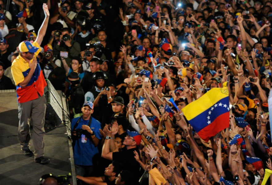 Capriles and supporters (Leo Ramirez / AFP)