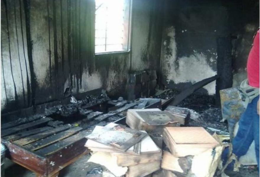 Government housing was set on fire in the city of Upata, state of Bolivar