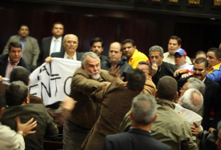 The violence in the national assembly yesterday (AVN)