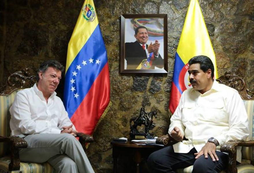 Venezuela's president Nicolas Maduro met with Colombian president Juan Santos yesterday (AVN)