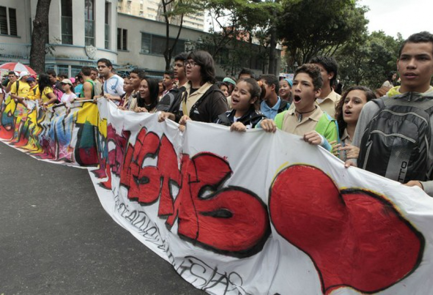 Students rallying in Caracas earlier today (VTV)