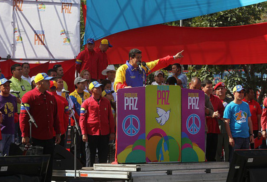 President Maduro at yesterday's rally (agencies