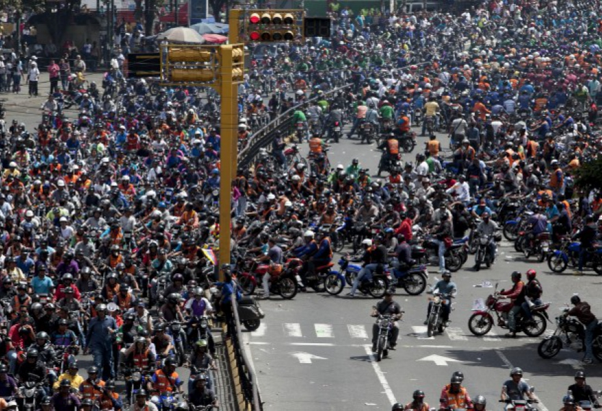 Last Friday around 2,000 motorcyclists gathered in the capital to protest the planned restriction of night-riding (Associated Press)