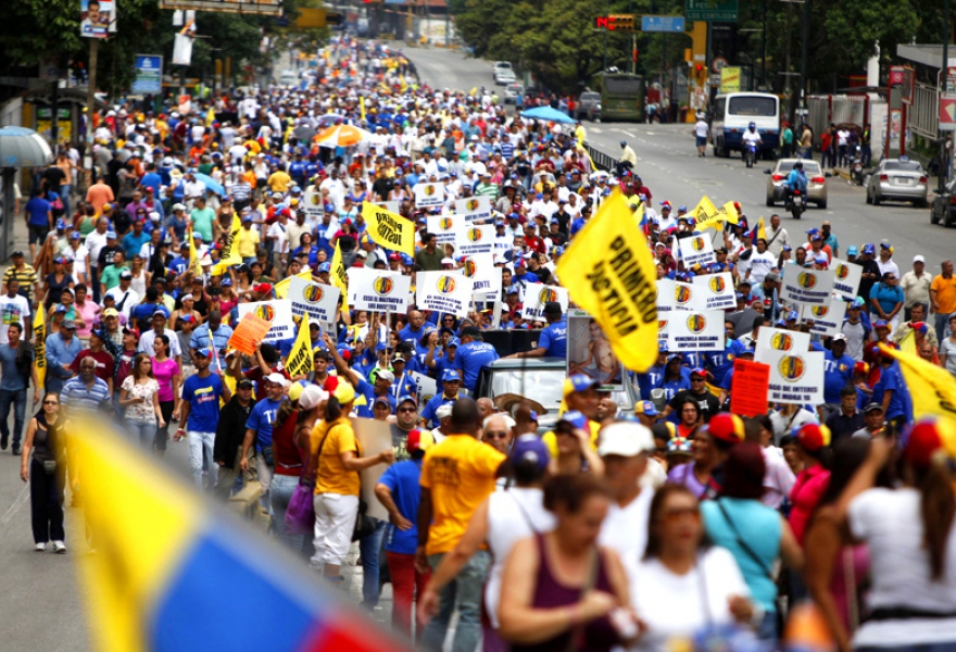 The opposition held their own May Day rally in the wealthy east side of Caracas where they criticised the state of the economy (Agencies)