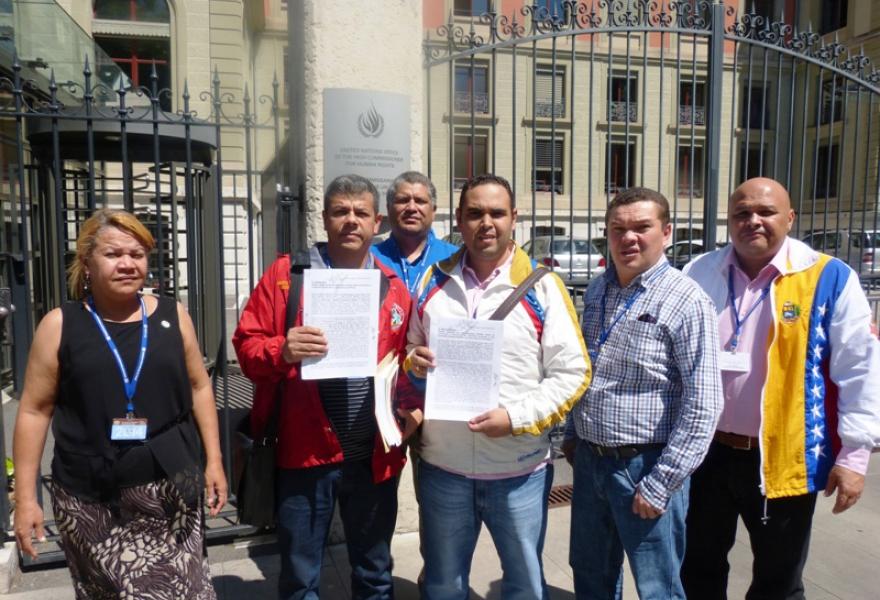 "Representatives of Venezuelan Workers' Unions denounce ""terrorist violence"" before the UN, in Geneva. (YVKE Mundial / CBST)"