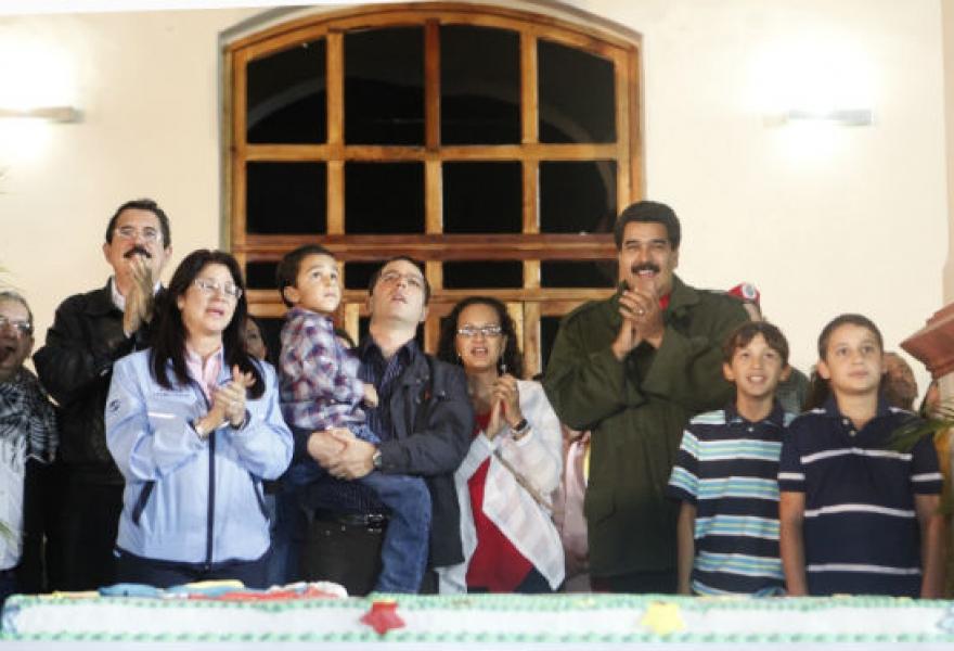 Nicolas Maduro attended an event at the Cuartel de la Montaña in Caracas, where Chavez's remains are held. (prensa presidencial)