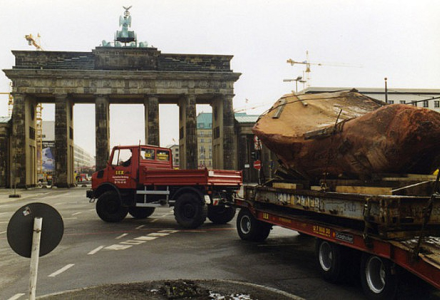 The Kueka stone being transported in Berlin. (Courtesy)