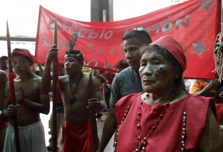 Pemon indigenous march in Caracas for the return of the grandmother stone Kueka, 2012. (AVN/ Veronica Canino)