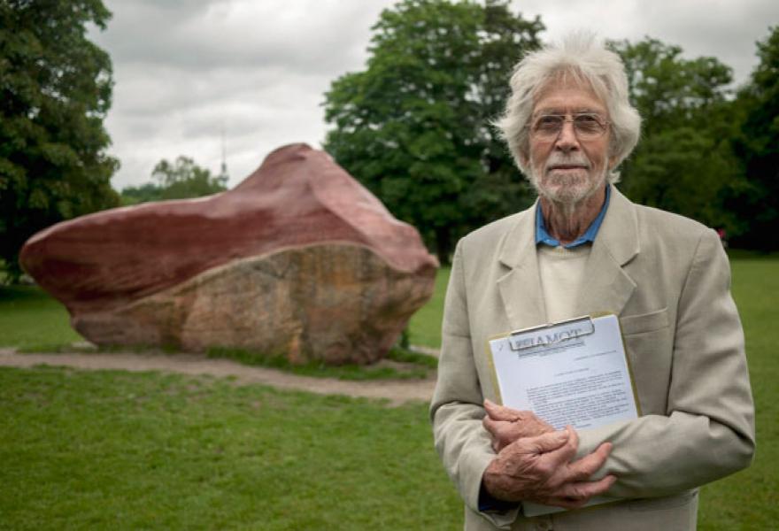 Wolfgang Schwarzenfeld, German sculptor and designer of Global Stone project in Berlin.