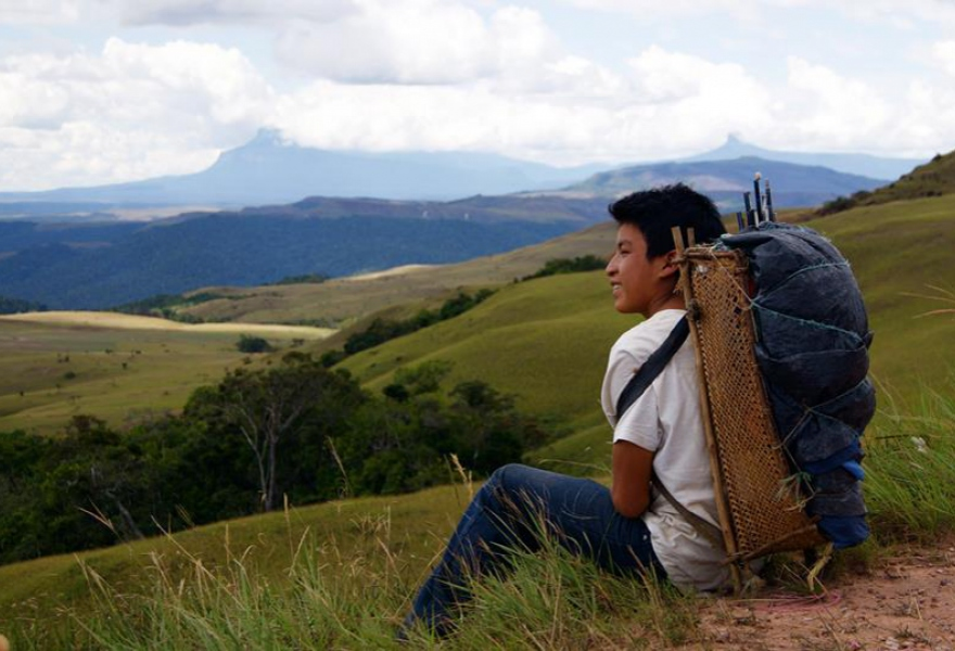 A pemon boy rests on the way to Mt. Roraima. (Benjamin Mast)