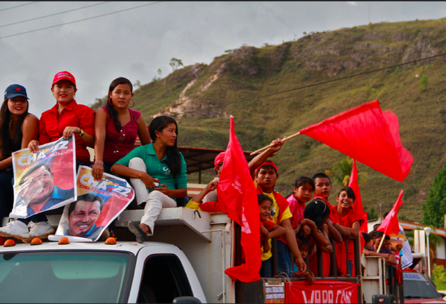 Pemon women of the Wara community rally for Chavez's reelection in 2012. (Z.C. Dutka/NACLA)