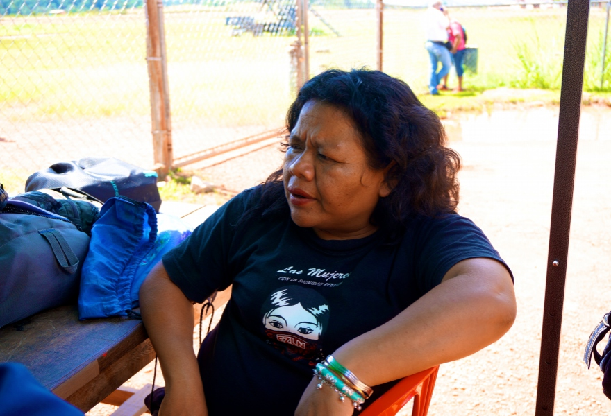 Lisa Henrito, an adviser for the Committee for Indigenous Health, wears a Zapatista shirt