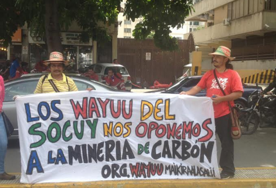 Banner reads: The Wayuu of Socuy Oppose Coal Mining (Photo: Lucas Koerner)