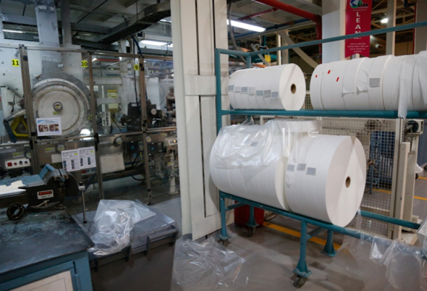 The plant is able to produce 17 million toilet rolls monthly.  Workers have it running at full capacity since the reopening.