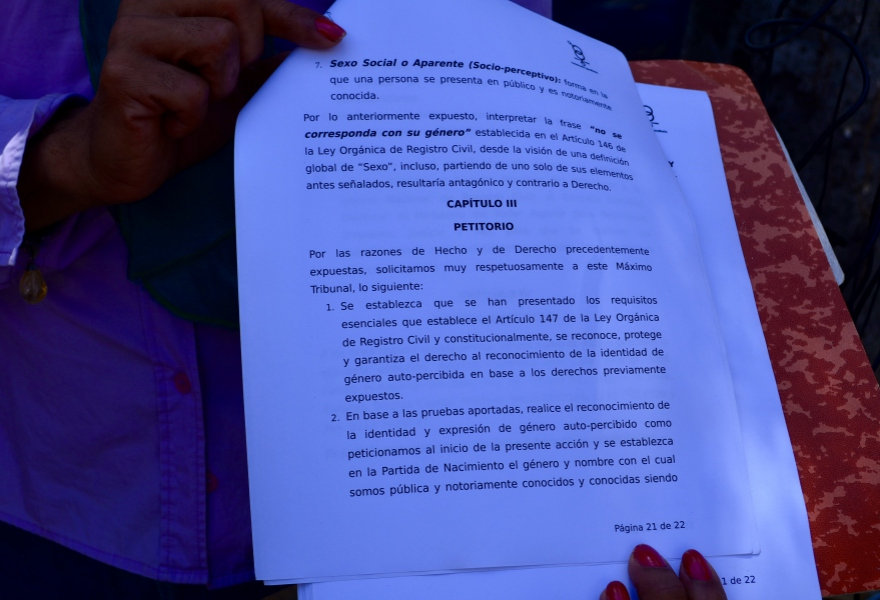 The document which the activists are hoping will lead to their right to officially change their name and gender on state records. (Rachael Boothroyd Rojas/Venezuelanalysis)