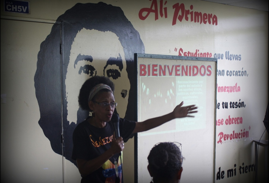 Activist Casimira Monasterio defends the territorial and cultural rights of Afro-Venezuelans during talks on July 11 at the Bolivarian University in Caracas. (Photo credit: Nicanor Cifuentes Gil)